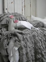 grey ruffle duvet cover