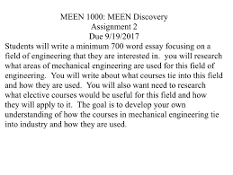 meen meen discovery assignment due com meen 1000 meen discovery assignment 2 due 9 19 2017 students will write