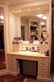 furniture rectangle white wooden makeup table with rectangle white wooden mirror and lights on the