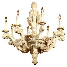 century french painted wooden chandelier for wood shabby distressed white id f