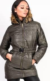 ella padded faux fur hooded belted jacket