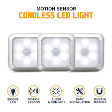 Elite Lighting Can Lights Us 4 88 6 Led Square Motion Sensor Night Lights Pir Induction Under Cabinet Light Closet Lamp Battery Powered For Stairs Kitchen Bedroom In Under