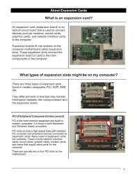 What Is An Expansion Card What Types Of Expansion Slots