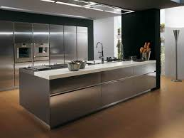 Modern Style Kitchen Cabinets Stainless Steel Modern Kitchen Design With Silver Floor And Wooden