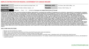 Contractor For Federal Government Of Canada Resume Template