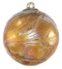 Witch Ball Iridescent Amber - Kugel House