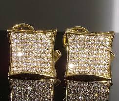 150 l mens gold gp diamond simulate iced out custom hip hop large earrings ebay