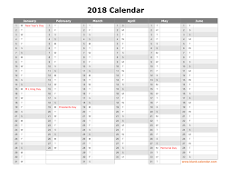 Free Download Printable Calendar 2018 Month In A Column