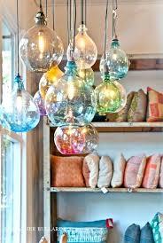 hand blown glass pendant lights kitchen design lighting and multi colored mini