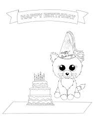 Happy Birthday Coloring Page Free Printable Beanie Boo Coloring