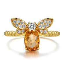 New <b>Fashion</b> Ring Crystal Bee Rings For Women Open Adjustable ...