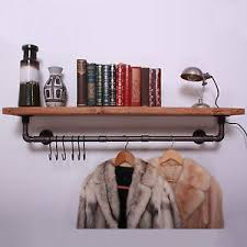 Clothes Rail with Shelf & Hooks Iron Gas Pipe Vintage Industrial