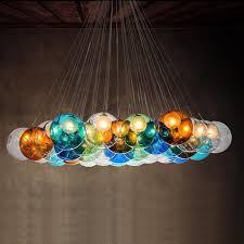 modern glass lighting. $201.28- Creative Design Modern Led Colorful Glass Pendant Lights Lamps For Dining Room Living Lighting