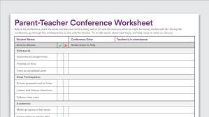 Printable Parent-Teacher Conference Worksheet