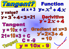 diffeiate then use the derivative and a given x value or a given point to find the grant of the tangent line y mx c