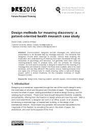 Design Research Meaning Design Methods For Meaning Discovery A Patient Oriented