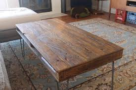 reclaimed wood coffee table on hairpin