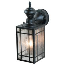 1 light black motion activated outdoor wall mount lantern