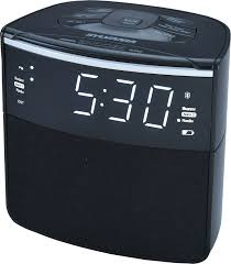 bluetooth clock radio auto set dual alarm usb charging fm pll