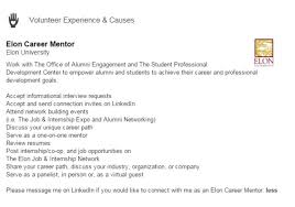 elon career mentors on linkedin conduct the interview submit a summary of interview questions and answers to careerservices elon edu earn a collegecareer rewards program objective