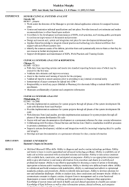 Clinical Systems Analyst Sample Resume Clinical Systems Analyst Resume Samples Velvet Jobs 2