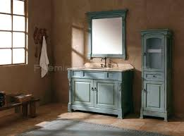 antique bathroom vanities with mirror and free standing cabinet in distressed sea blue finish