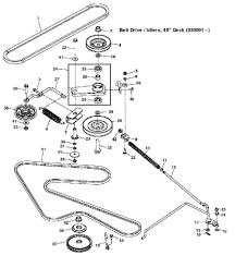 John deere x540 belt drive and idlers s no 030001 exploded parts diagram