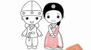 Vẽ Và Tô Màu Kim Tuyến Cô Dâu Và Chú Rể Hàn Quốc | How to draw Korean Bride  and Groom.