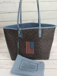 NWT Coach F25949 Signature Reversible City Tote Brown Blue Black American  Flag