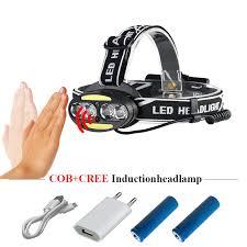 led <b>headlamp IR</b> sensor 4 cree xml t6 2 <b>cob</b> rechargeable led ...