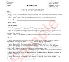 Example Jb's Agreement Sheet | Johnny B's Entertainment