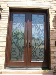 custom doors fiberglass woodgrain 8 foot with 22 by 80 custom glass installed by front