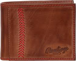 rawlings mens tanned leather baseball stitch embroidered wallet light brown