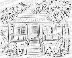 Innovation with house coloring pages for preschoolers: Beach House Printable Adult Coloring Page Coloring Book Etsy