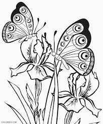 Profile of a butterfly with flowers. Printable Butterfly Coloring Pages For Kids