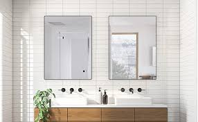 Can you share your impressions with us, in the end? Amazon Com Belle Electrical Black Wall Mirror For Bathroom 24x32 Inch Beveled Rounded Corner Bathroom Mirrors For Wall Thin Modern Aluminum Metal Frame Makeup Mirrors For Wall Hangs In Vertical Or Horizontal Kitchen