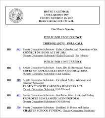 Sample Agenda Calendar