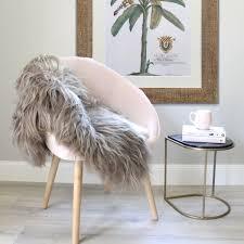 Taupe Icelandic Sheepskin Shaggy Fur Throw Over Chair D70