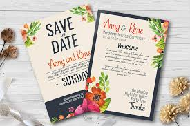 Double Sided Save The Date Wedding Invites Template