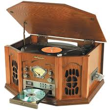 nostalgia stereo with turntable cassette radio cd player oak