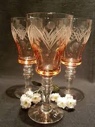 set of 3 pink wine glasses