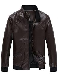 zip up panel design faux leather jacket coffee 3xl