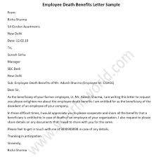 Employee Death Benefits Letter Sample Death Claim Letter