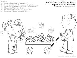 Summer Directions Coloring Sheet-Sequential 2 step directions ...