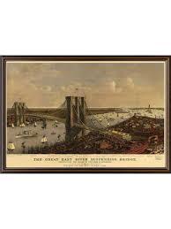 new york brooklyn bridge lithography vintage poster