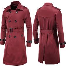 new men slim double ted long trench coat trenchcoat jacket male black coat