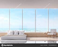 Moderne Weiße Schlafzimmer Mit Sea View Rendering Bild Gibt Weißen