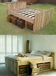 DIY Pallet Bed with Pull Out Crates Under