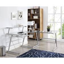 broderick l shaped corner desk clear glass