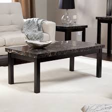 adeco coffee table faux marble top black metal base for living room decor